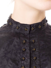 Victorian Black Silk Moire Puff Short Sleeve  Top