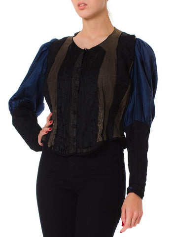 Victorian Silk & Cotton Deconstructed Baleen Boned Bodice Top With Belle Epoque Sleeves