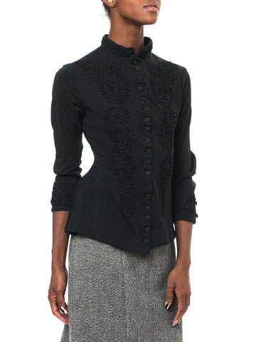 Sharp Embroidered Black Fitted Victorian Top