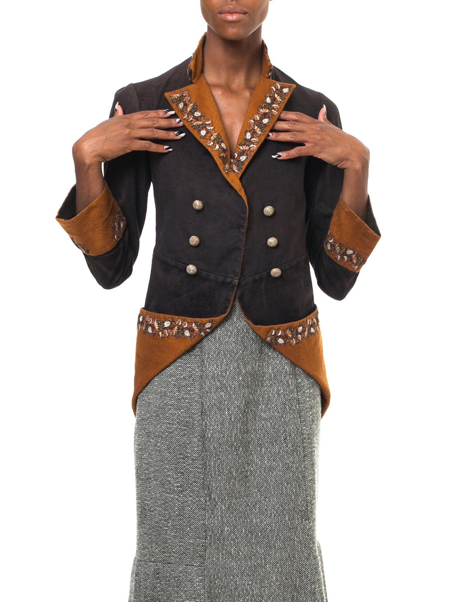 Victorian Brown Cotton & Wool Velveteen 1880S 18Th Century Revival Redingote Jacket With Floral Embroidered Trim 60'S Gold Buttons
