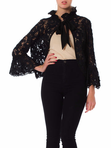 1960s Black Embroidered Lace Ties Jacket