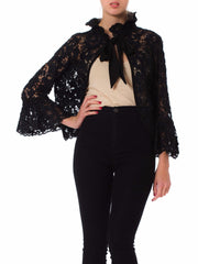 1960S Black Embroidered Lace Ties Long Sleeve Jacket