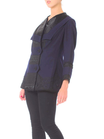 Edwardian Sapphire Blue  & Black Wool Silk Passementerie Embroidered Jacket With New Lining
