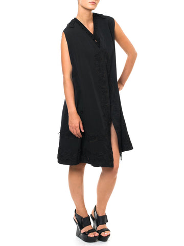 Black Embroidered Long Smock