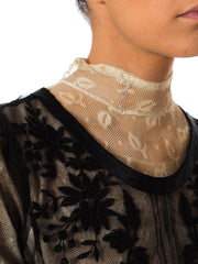 1900s Victorian White Lace Black Hand Embroidered Blouse Top