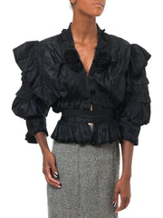 Wildly Ruched Black Victorian Blouse
