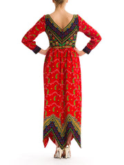 Opulently Colorful Vintage 1970s Ethnic Paisley Print Dress