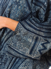 1970s Ethnic Indigo Batik Batwing Tunic Dress