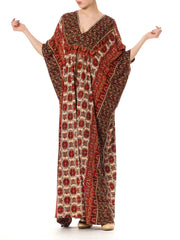 1980's Opulent Red and Tan Print Mumu