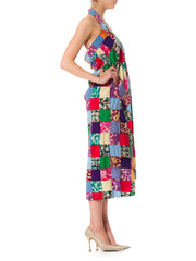 1970S Cotton Ethnic Patchwork Summer Halter  Dress