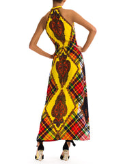 Bold Vintage 1980s Yellow Plaid Ethnic Print