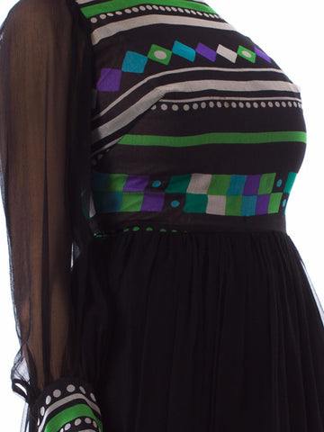 1970s Black & White Silk Mousseline Long Sleeved Gown with Purple & Green Geometric Print from Brussels