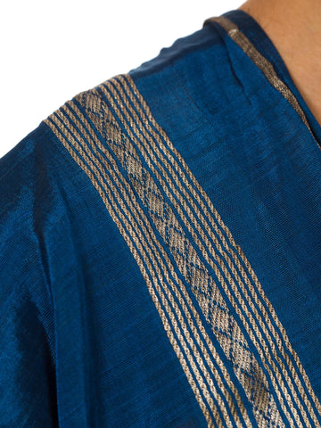 1960S Blue Hand Woven With Silver And Silk Ethnic Syrian Long Vest