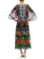 1970s Vintage Wendel Red Floral Black and White Geometric Print Dress