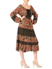 1970s Boho Gypsy Paisley Floral Print Bishop Sleeve Maxi Dress