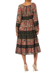 Colorful 1960's Paisley Print Patchwork Dress