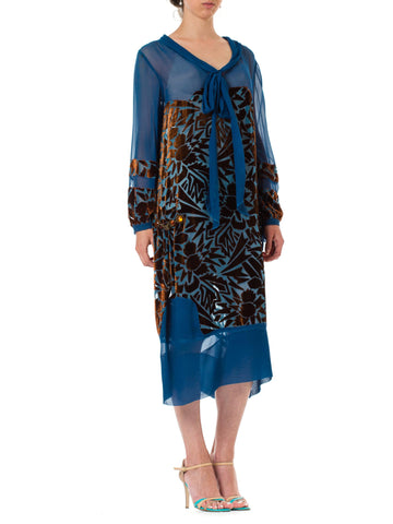 1920S RAUOL DUFY Style Blue & Brown Silk Velvet  Burnout Bow Neck Dress With Bejeweled Metal Ornaments
