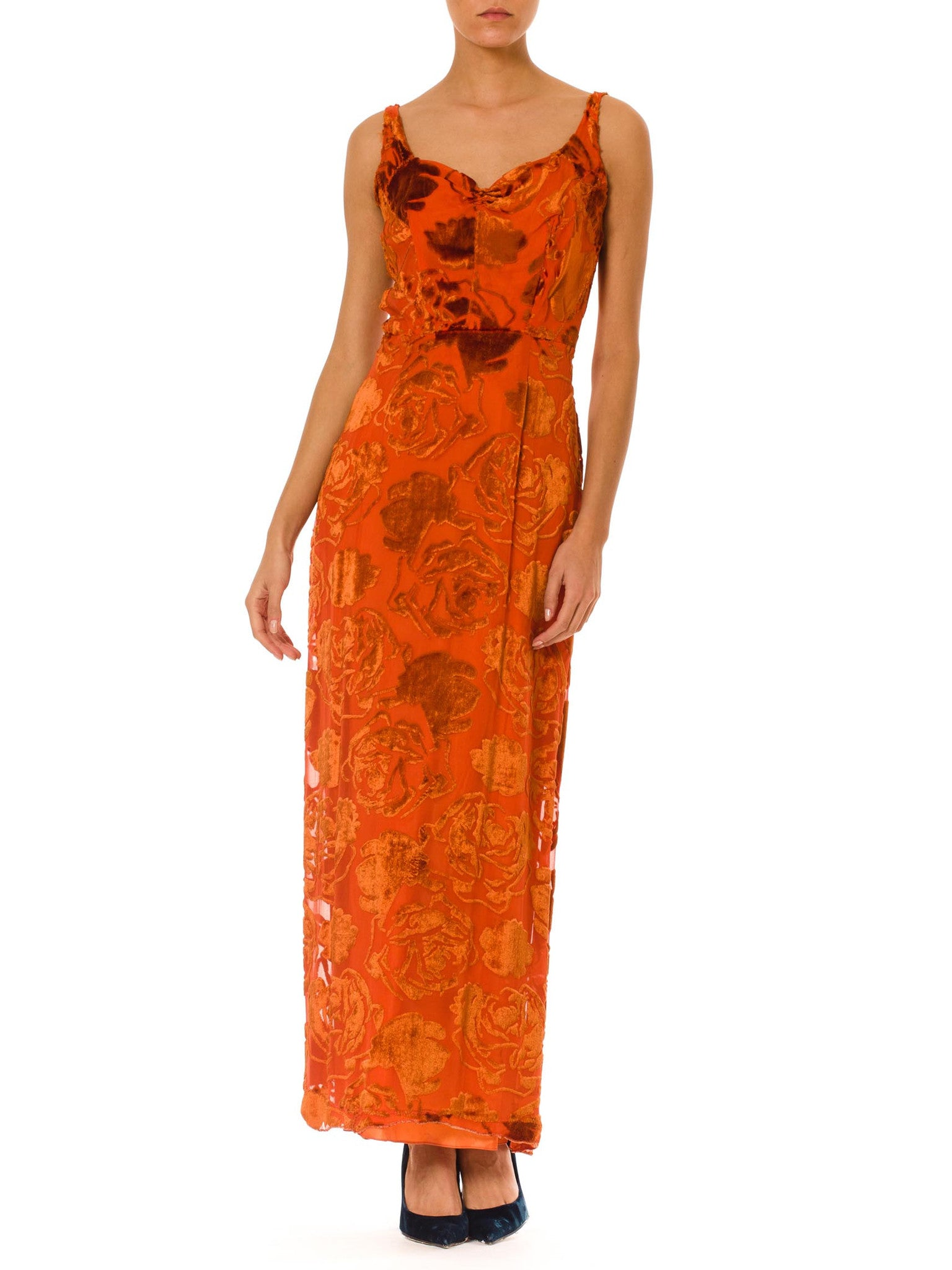 1930S Burnt Orange Floral Silk Burnout Velvet  Gown As-Is For Design Or Theatre