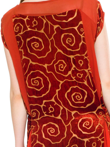 1920S Orange Floral Silk Burnout Velvet  & Chiffon Flounce Godet Dress