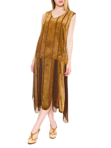 1920S Caramel Brown Silk Burnout Velvet  & Chiffon Beaded Flapper Cocktail Dress