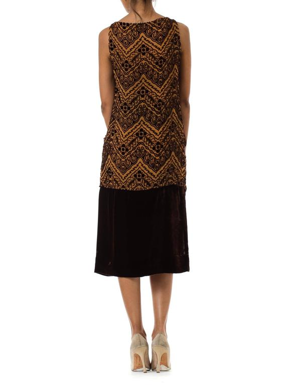 1920S Brown Silk Burnout Velvet Devoré Drop Waist Flapper Dress