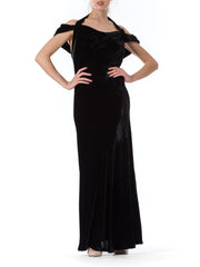 1930s Black Velvet Bias Cut Open back Gown
