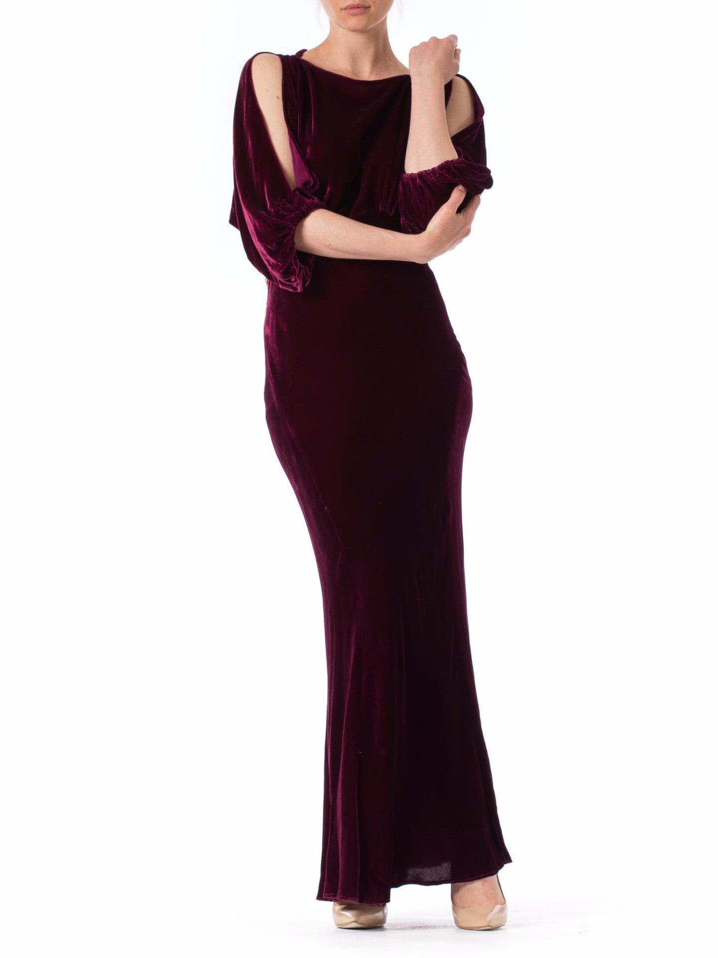 1930s Bias Cut Batwing Burgundy Silk Velvet Gown