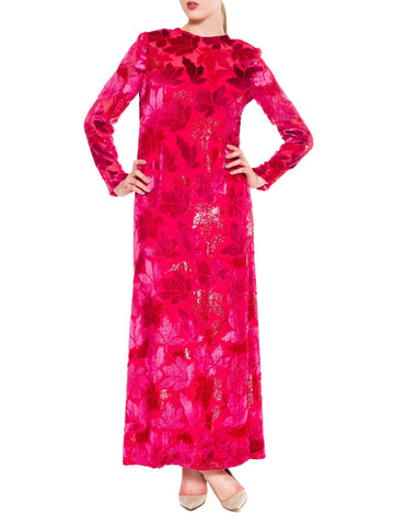 Vivid Hot Pink Falling Leafs Print Full Length Dress
