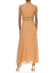 1960s Romantic Embroidered Lace Short Sleeve Gown
