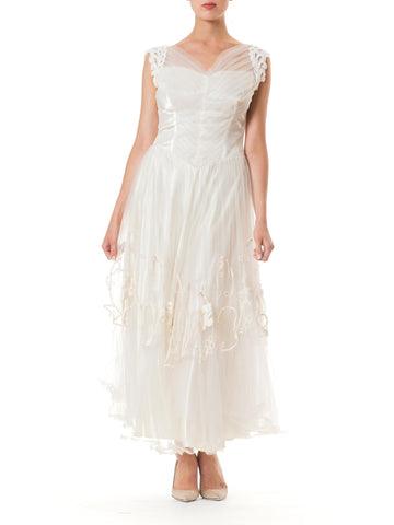 1950s Embroidered Tulle Wedding Dress