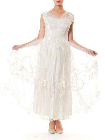 1950S  White Embroidered Rayon & Nylon Satin Tulle Fit Flare Bridal Gown