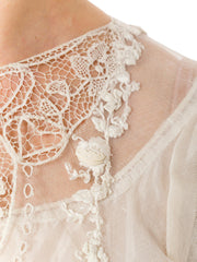 1920s Handmade Mixed Lace and Embroidery Bridal White Dress