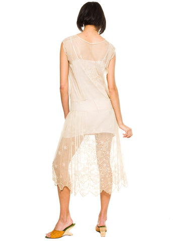 1920S Ivory Cotton Net Callot Soeurs Style Hand Embroidered Dress