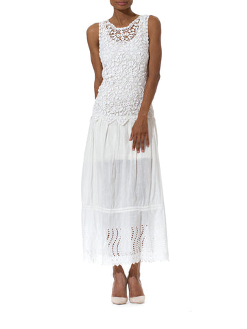 Long White Lace Eyelet Summer Dress