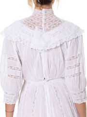 Late Victorian Cotton and Lace Tea Dress