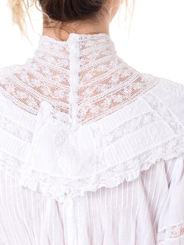 1900S  White Cotton Voile Late Victorian Lace Tea Dress With Half Sleeves