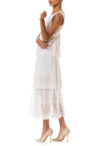 Edwardian White Cotton Embroidered Lace 3 Tiered Skirt Dress