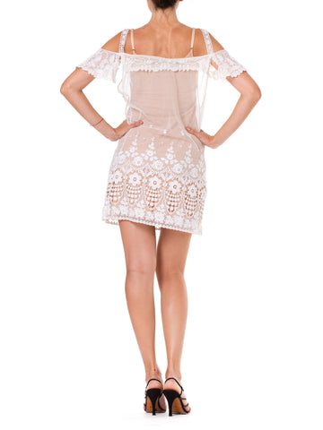 White Cotton Embroidered Tulle Short Lace Dress