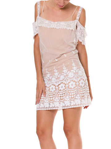 Cute Embroidered Victorian Dress Made from Antique Lace