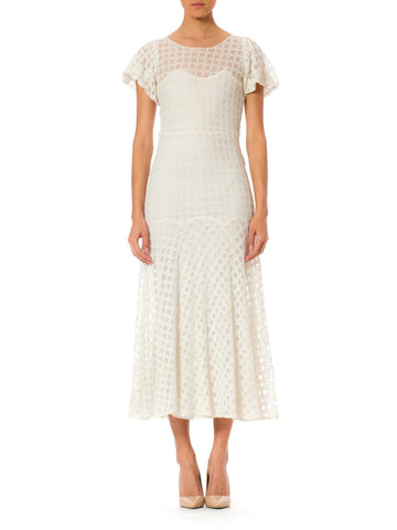1930s Embroidered White Net Lace Dress