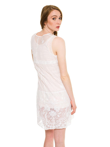 1920S White Cotton Embroidered Tulle & Edwardian Lace Dropped Waist Dress
