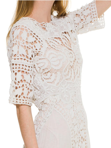 Edwardian White Cotton Asymmetrical Oversized Lace Tea Dress