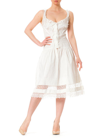 Victorian White Cotton and Lace Drop Waist Summer Dress