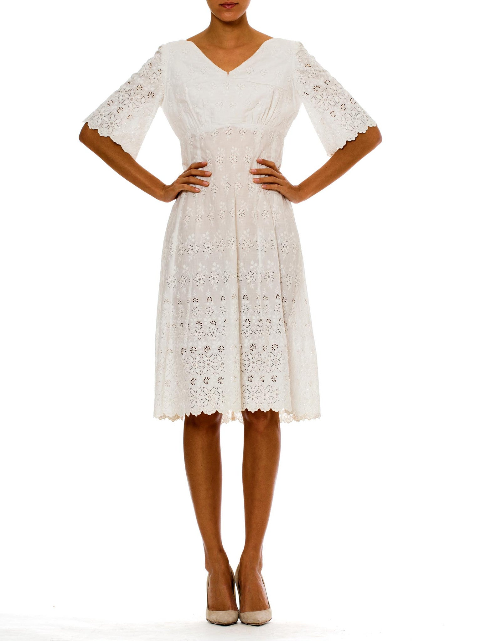 Vintage 1950s Floral Embroidered White Cotton Dress