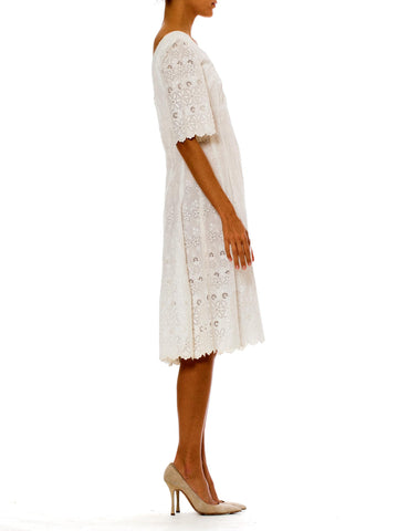 Victorian White Organic Cotton Dress With Floral Eyelet Embroidery & Scalloped Hem