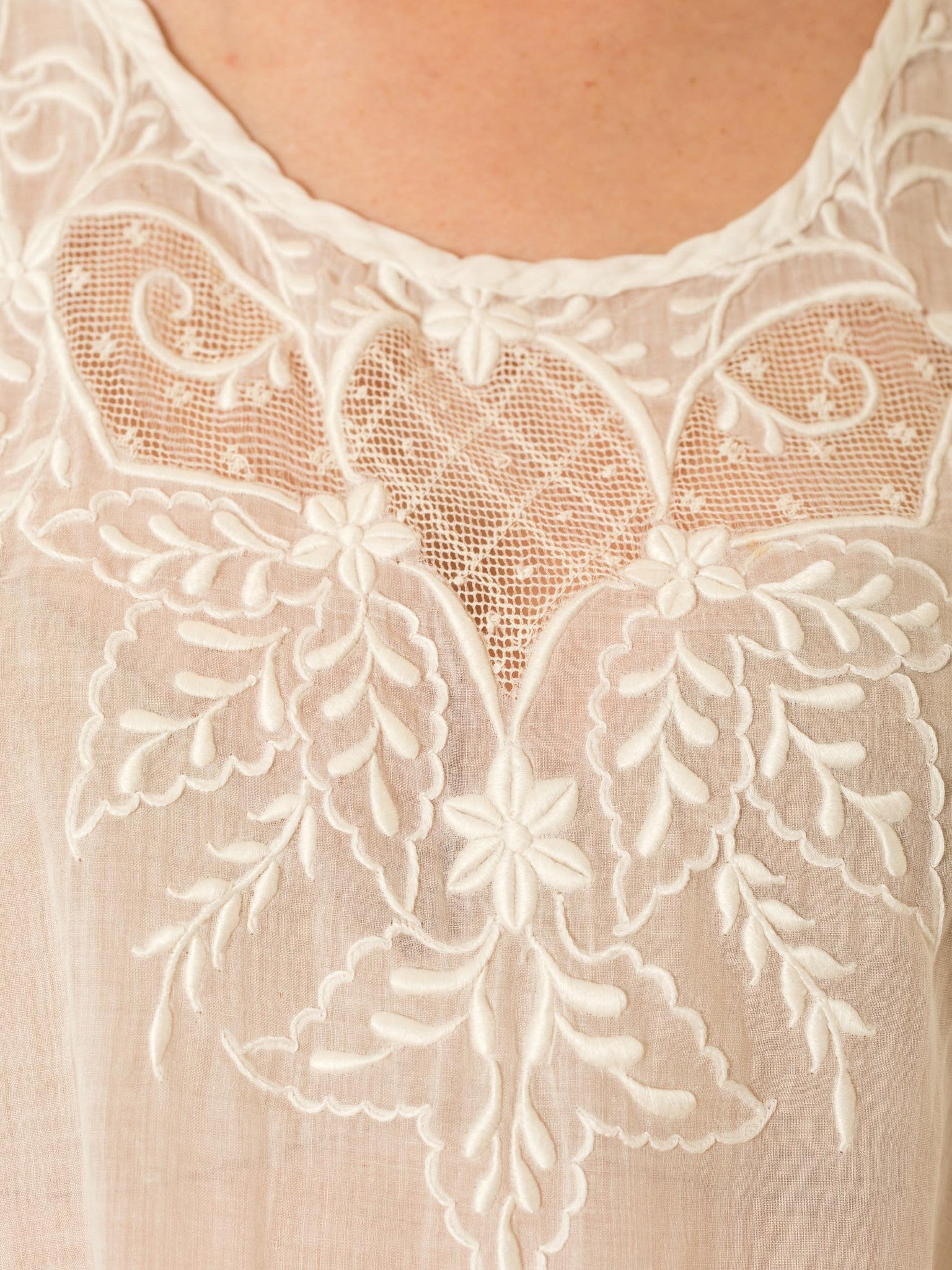Edwardian White Cotton Voile Oversized Top With Very High Quality Hand Embroidery