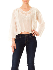 1970s Boho White Embroidered Long Sleeve Top