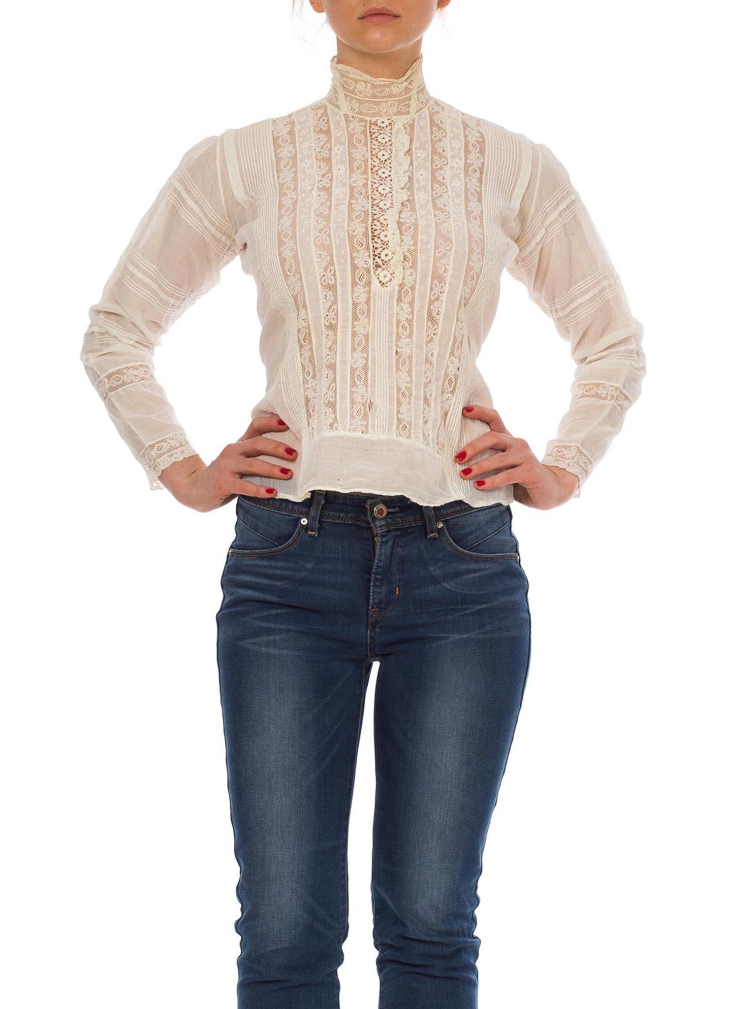 Victorian Cream Cotton & Lace High Swan Neck Blouse With Trim Sleeves Hand-Made Buttons
