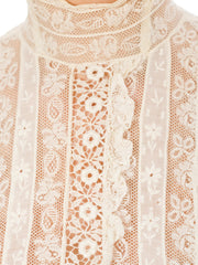 Victorian High Neck Lace Embroidery White Pleated Cotton Shirt