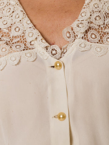 1940S  Silk With Lace Collar Blouse
